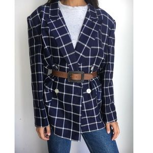 NWT Vintage linen navy plaid oversized blazer XL